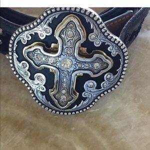 Justin Black leather Belt